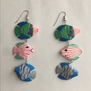 Vintage fish dangle earrings